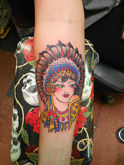 americana style indian girl tattoo
