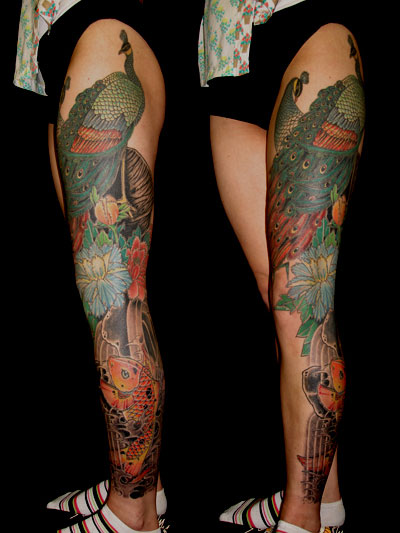 mehai-bakaty-peacock-full-leg-tattoo