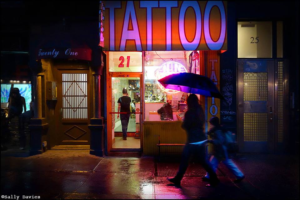 shot of classic fineline tattoo store front by new york city resident photographer sally davies