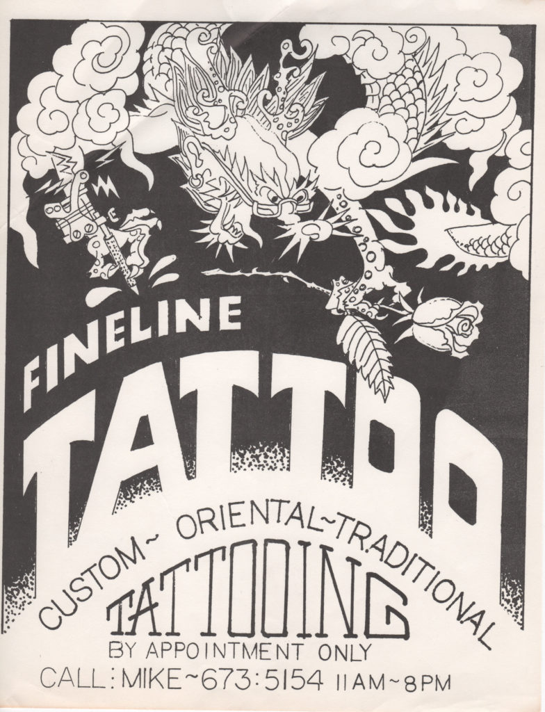 Mike Bakaty established Fineline in 1976, when tattooing was illegal in NYC. This is one of Mike's first ads/business cards for his underground shop.