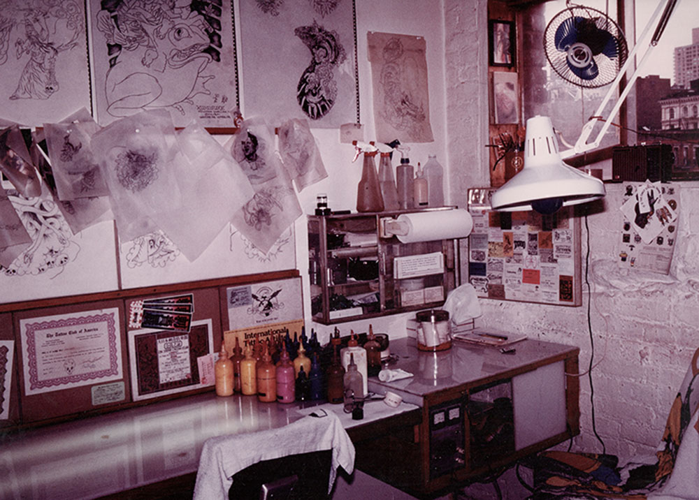 Mike Bakaty's work station at 295 Bowery.